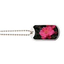 Pink Rose with water droplets Dog Tags