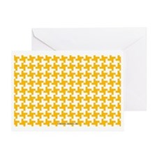 Retro Houndstooth Vintage Yellow Greeting Card