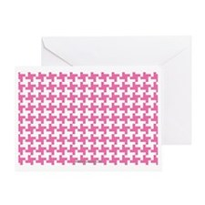 Retro Houndstooth Vintage Pink Greeting Card