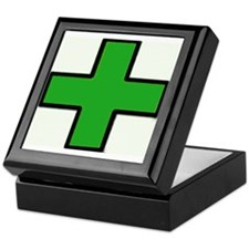 Green Medical Cross (Bold) Keepsake Box