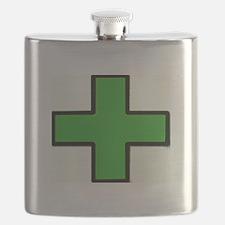 Green Medical Cross (Bold) Flask