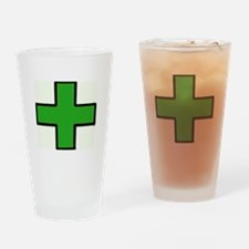 Green Medical Cross (Bold) Drinking Glass