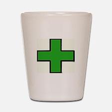Green Medical Cross (Bold) Shot Glass