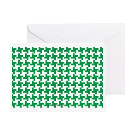 Retro Houndstooth Vintage Green Greeting Card