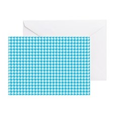 Retro Houndstooth Vintage Blue Greeting Card