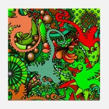 Dragons in Paisley Tile Coaster