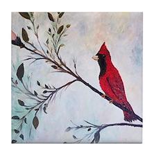 Sweet Red Cardinal Tile Coaster
