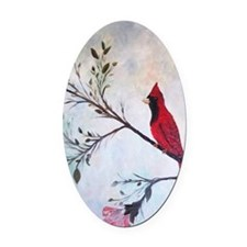 Sweet Red Cardinal Oval Car Magnet
