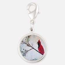 Sweet Red Cardinal Silver Round Charm
