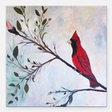 "Sweet Red Cardinal Square Car Magnet 3"" x 3"""