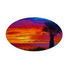 Painted Sunset Sky With Palm Tree Oval Car Magnet