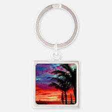 Deep Purple Captiva Sunset Sky Square Keychain