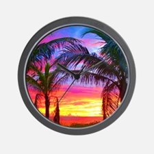 Captiva Island Sunset Palm Tree Wall Clock