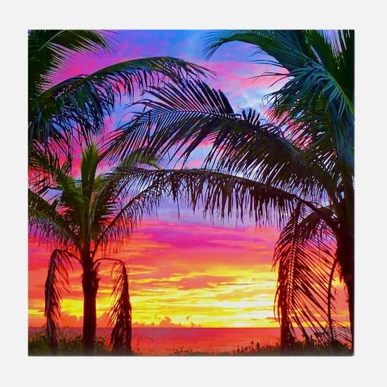 Captiva Island Sunset Palm Tree Tile Coaster