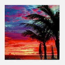 Deep Purple Captiva Sunset Sky Tile Coaster