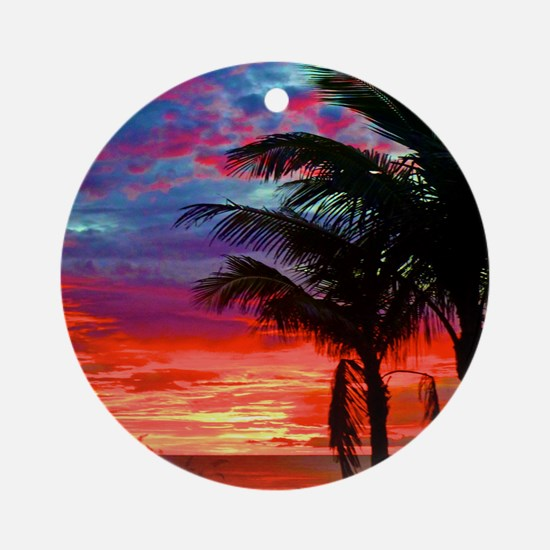 Deep Purple Captiva Sunset Sky Round Ornament