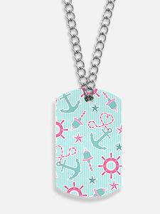 Cute Girly Nautical Print Aqua and Pink Dog Tags