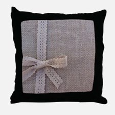 Vintage Country Burlap Lace Bow Throw Pillow