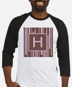 Pink and Brown Stripe Letter H Baseball Jersey
