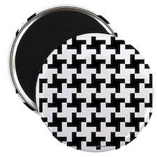 Retro Houndstooth Vintage Black Magnet