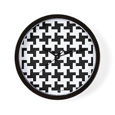 Retro Houndstooth Vintage Black Wall Clock