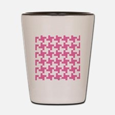 Retro Houndstooth Vintage  Pink Shot Glass