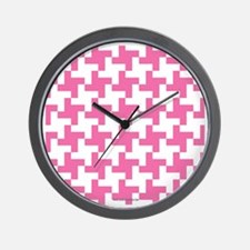 Retro Houndstooth Vintage  Pink Wall Clock