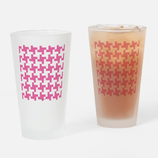 Retro Houndstooth Vintage  Pink Drinking Glass