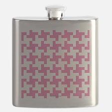 Retro Houndstooth Vintage  Pink Flask