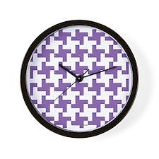 Retro Houndstooth Vintage Purple Wall Clock