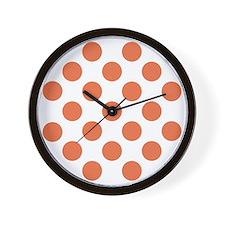 Polka Dots Sq W Coral Wall Clock