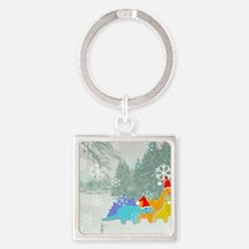 Snow Dinosaurs Square Keychain