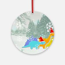 Snow Dinosaurs Round Ornament