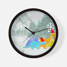 Snow Dinosaurs Wall Clock