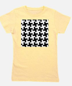 Retro Houndstooth Vintage Black Girl's Tee