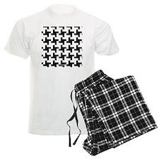 Retro Houndstooth Vintage Bla Pajamas