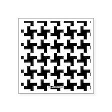 "Retro Houndstooth Vintage B Square Sticker 3"" x 3"""