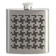Retro Houndstooth Vintage Black Flask