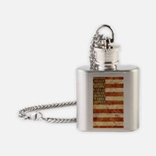 Vintage American Flag Graphic Flask Necklace