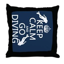 Keep Calm and Go Diving (scuba) Throw Pillow