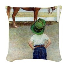 The Standoff Boy And Pony Woven Throw Pillow