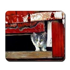 Grey And White Cat In Barn Mousepad