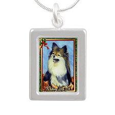 Pekingese Dog Christmas Silver Portrait Necklace