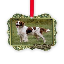 Irish Red  White Setter Dog Chris Ornament