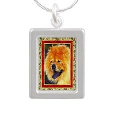 Chow Chow Dog Christmas Silver Portrait Necklace