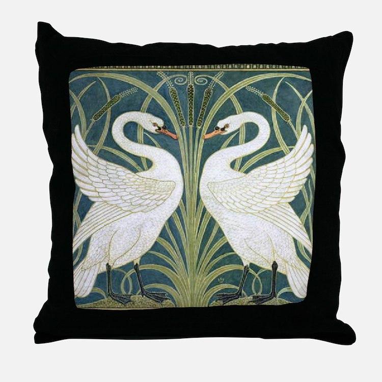 Swan and Rush Throw Pillow