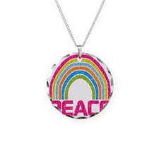 Peace Rainbow Necklace Circle Charm