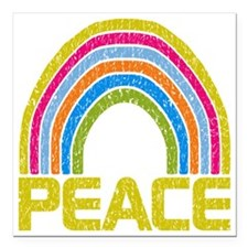 "Peace Rainbow Square Car Magnet 3"" x 3"""