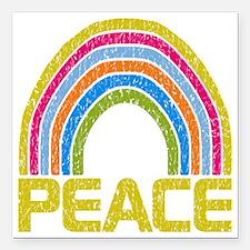 "Peace Rainbow Square Car Magnet 3"" x 3"""