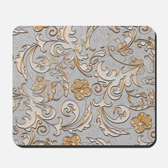 Gold and Silver Scrolls Mousepad